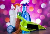 Group of assorted cleaning products — Stock Photo