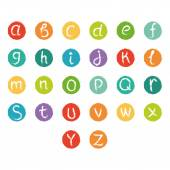 Funny english alphabet. Hand drawn chalk like alphabet in colorful circles. — Vector de stock