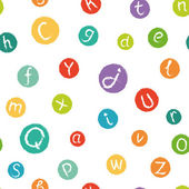 Seamless pattern - funny english alphabet. Hand drawn chalk like letters in colorful circles. — Stock Vector