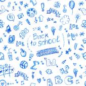 Vector seamless doodle school pattern, hand drawn with pencil. — Wektor stockowy