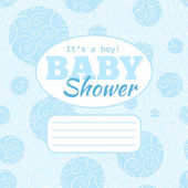 Vector blue baby shower party invitation (baby boy) with doodled swirles and empty space for text. — Stock Vector