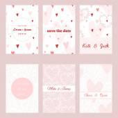 Set of beautiful templates for invitations - wedding, anniversary, baby shower, etc — Stock Vector