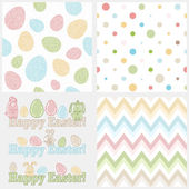 Set of four easter elements - seamless patterns (eggs, polka dots and chevron) and cute easter bunnies with words HAPPY EASTER! Ideal set to create your own invitations, greeting cards, tags, etc — Stock Vector