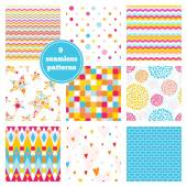 Vector set of nine rainbow seamless patterns - chevron, hearts, stars, dots, bricks, geometric, peony. Ideal elements for scrapbooking sets, wrapping paper, invitations, greeting cards,etc — Stock Vector
