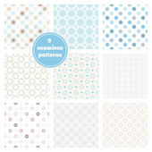Vector set of nine blue seamless geometric patterns. Ideal elements for scrapbooking sets, wrapping paper, invitations, greeting cards,etc — Stock Vector