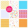 Vector set of nine rainbow seamless patterns - chevron, hearts, stars, dots, bricks, geometric, peony. Ideal elements for scrapbooking sets, wrapping paper, invitations, greeting cards,etc — Vecteur #69864051