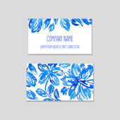 Set of business cards with watercolor floral background. — Stock Vector