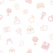 Seamless vector pattern of wedding vector icons. — Stock Vector