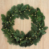 Mistletoe and Fir Wreath — Stock Photo