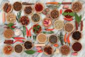 Herbs and Spices on Marble — Stock Photo