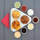 Crisp and Dip Selection — Stock Photo