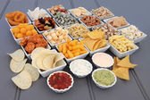 Savoury Snack and Dip Selection — Stock Photo