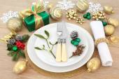 Christmas holiday dinner place table — Stock Photo