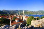 Red roofs of Budva in Montenegro, citadel  — Stock Photo