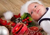Christmas toddler in Santa hat  — Stock Photo