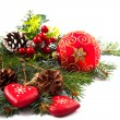Christmas balls and fir branches with decorations isolated over  — Stock Photo #57697831