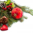 Christmas balls and fir branches with decorations isolated over  — Stock Photo #57697879