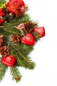 Zusammensetzung der Weihnachtsschmuck, die isoliert auf weiss — Stockfoto
