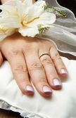 Bridal hands with wedding ring — Stock Photo