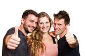 Gelukkig groep vrienden geïsoleerd over wit — Stockfoto