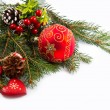 Christmas balls and fir branches with decorations isolated over  — Stock Photo #59327225