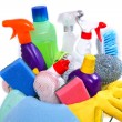 Full box of cleaning supplies and gloves isolated on white — Stock Photo #60291853