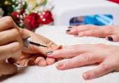 Manicure and Hands with uv lamp for nails — Stock Photo