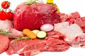 Raw mix meat with some vegetables — Stock Photo