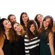 Group of girl friends isolated over a white background — Stock Photo #65209469
