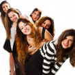 Group of girl friends isolated over a white background — Stock Photo #65209501