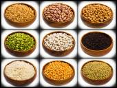 Collage of different type of legumes — Stock Photo