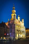Old town hall in Poznan - photo taken at night — Stock Photo