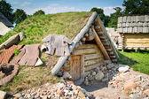 Old slavic hut — Zdjęcie stockowe