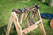 Old rack with blacksmith's tool — Stock Photo
