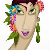 Femme avec des fleurs dans les cheveux — Photo