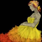 Evening dress yellow — Stock Photo