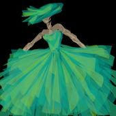 Green evening dress — Stock Photo