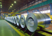 Packed coils of steel sheet — Stock Photo