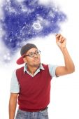 African guy nerd is drawing space dreams — Stok fotoğraf
