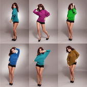 Collage of woman with various colors blouse — Stock Photo