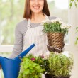 Woman doing some gardening at home with her plants — Stock Photo #72866579