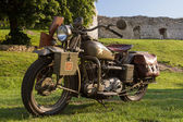 Old military motorcycle from WWII — Stock Photo