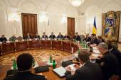 President of Ukraine Petro Poroshenko during the NSDC meeting — Stock Photo