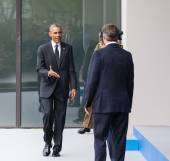 US President Barack Obama at the NATO summit in Newport — Stock Photo