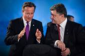 Petro Poroshenko and David Cameron during a meeting at the NATO — Stock Photo