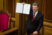 President of Ukraine Petro Poroshenko after the signing of the  — Stock Photo