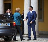 German Chancellor Angela Merkel and Italian Prime Minister Matte — Stock Photo
