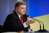 Press conference of the President of Ukraine Poroshenko — Stock Photo