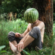 Boy with a watermelon instead of head — Foto Stock #62824905