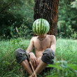 Boy with a watermelon instead of head — Stockfoto #62824907